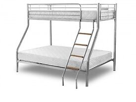 BEST SELLING BRAND - WOW Brand New Alexa Trio Metal Bunk Bed and Mattress - SAME/NEXT DAY DELIVERY