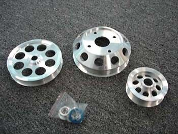 MEGAN ALUMINUM 3PC PULLEY KIT FOR SR20DET FROM NISSAN S13 SILVIA ONLY - SILVER