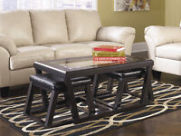 ASHLEY FURNITURE BLOWOUT SALE!!!! COFFEE TABLE WITH 2 STOOLS