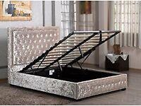 Modern Crushed Velvet Fabric Storage Bed