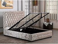 Excellent Luxury Beds Crushed Velvet/ Leather