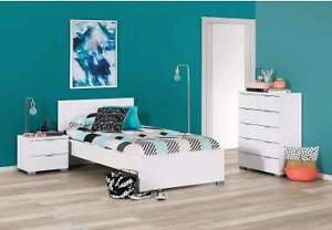 Queen bed frame, two bedsides, tallboy chest of drawers Macquarie Park Ryde Area Preview