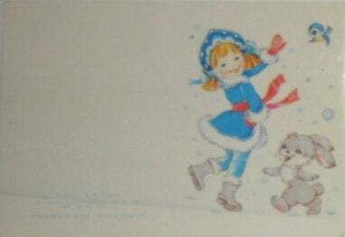 Russian New Year Christmas Postcards Snow Women with Snowpieces, Rabbit, Snow
