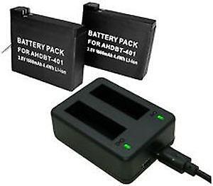 GoPro hero 3 4 5 6 7 camera battery charger with 2 spare batteries **
