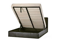 Kingsize, storage, ottoman bed, leather bed, with, memory, ortho firm, mattress, double.