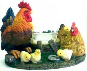Circle of Chickens, Rooster, Hen & chicks candleholder, candle