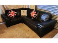 Lovely and comfortable compact black leather corner sofa modern design