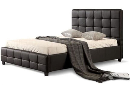Button Tufted Headboard PU Leather Bed Frame from $249