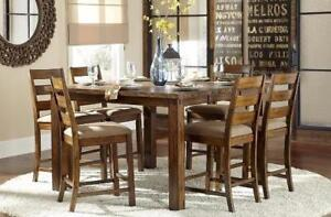 7PC Solid Wood Counter Height Set with a burnished rustic finish Starting bid: $1,200.00 Regular Retail $3199