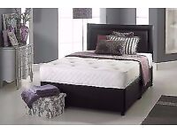 "BLACK MEMORY FOAM DIVAN BED SET + 10"" LUXURY DUAL MATTRESS + HEADBOARD FREE DELIVERY"
