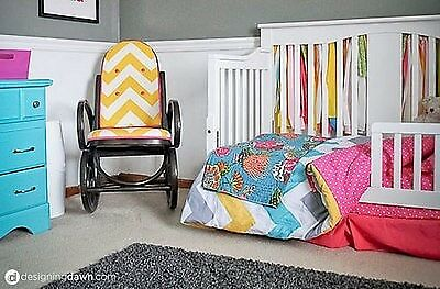 Left: A DIY upholstered chair brings colour and pattern to a child's space. (Image: Designing Dawn) Right: Painting an o