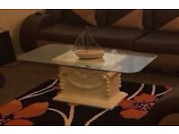 antique style coffee table very good condition traditional style glass on top
