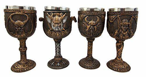 Norse Viking Asgard Gods Odin Loki Valkyrie 7oz Wine Goblet Chalice Cup Set of 4