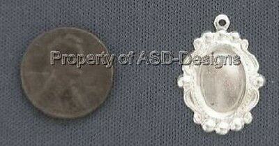 50pc Sterling Silver Plated Victorian Cameo Setting Charms 6890