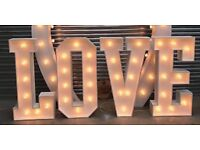 Large LOVE letters for hire in Cambridgeshire