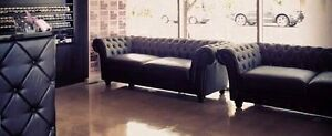 Black leather chesterfield lounges Palm Beach Gold Coast South Preview