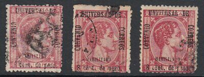 (GS118) PHILIPPINES - FILIPINAS. 1879 UPU 8c ON 100m (x3) USED. Sc # 73