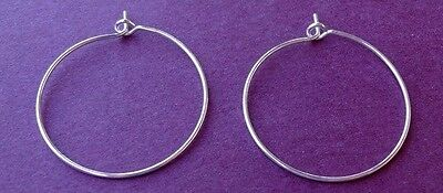 "50 SILVER Plated HOOPS ~ Ear Wires or WINE Glass RINGS for CHARMS 1"" ~ 25mm"