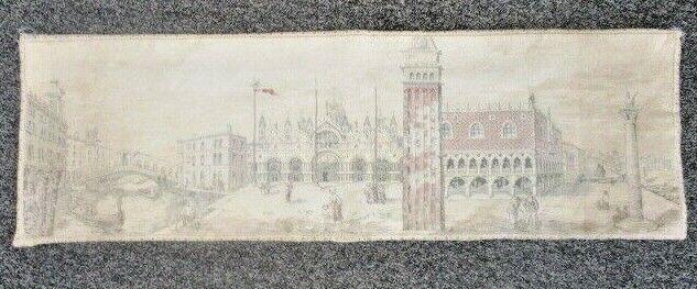 """Vintage Venezia Tapestry of St. Mark's Square, 50"""" x 16"""""""