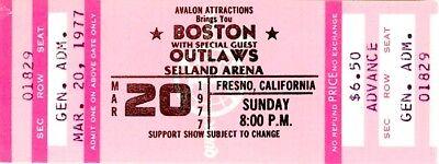 BOSTON / OUTLAWS 1977 MORE THAN A FEELING TOUR SELLAND ARENA UNUSED TICKET