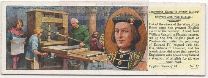 King Edward IV Caxton Printing Press Chaucer  Britain History 1930s Ad Card