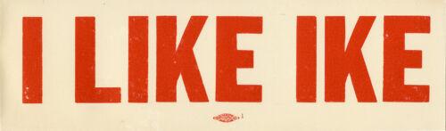 1950s Dwight Eisenhower I LIKE IKE Auto Window Sticker (5325)