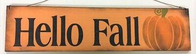Wooden Hello Sign (Hello Fall pumpkin autumn thanksgiving decor country wooden sign wreath)