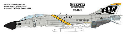 MILSPEC DECAL, MS 72-003, 1/72 SCALE, F-4B PHANTOM, VF-84 JOLLY ROGERS