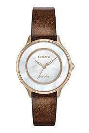 Citizen Eco-Drive EM0383-08D Ladies Gold-Tone Mother-of-Pearl Wa