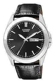 Citizen Mens BF0580-06E Quartz Watch with Black Leather Strap