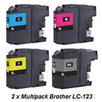 2x Brother LC-123 Multipack (huismerk inktcartridges)