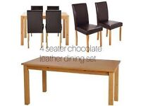Ashdon oak 120cm Table And 4 chocolate leather dining Set