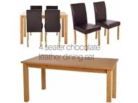 Ashdon oak 120cm Table And 4 chocolate faux leather dining Set