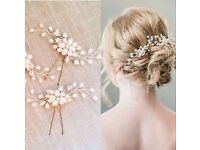 Beautiful Bride/Bridesmaid Faux Crystal and Pearl Hair Pins- Never worn