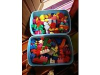 2 large containers full of mega bloks