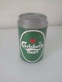 plastic money box with carlsberg beer logo lid comes off height 8 inch approx