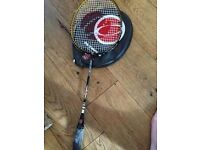 Badminton racket with cover