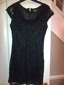Black beaded dress s, medium pussycat post inc s.12 £7 if ppicking up