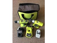 RYOBI Cordless Hammer Drill & Drill Driver, Charger, Super Charger & Battery in Storage Bag