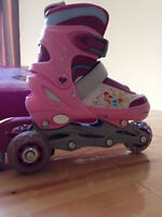Adjustable 3 wheels inline skate trainers for girls
