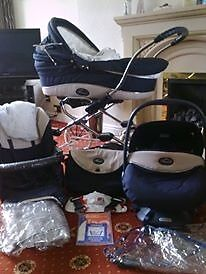 Bebecar traditional style pram, car seat, trolley