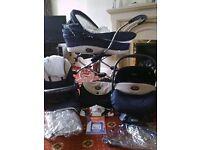Bebecar traditional style pram, car seat, trolley