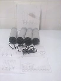 set of 4 black & silver Grey garden lights brand new box damaged
