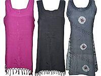 Womens Boho Dress Embroidered Rayon Summer Gypsy Sundress