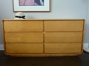 Commode 6 tiroirs érable look vintage