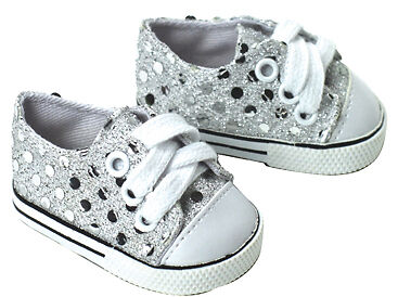 Apryl DOLL CLOTHES fits 18 Inch American Girl Silver Sequin Sneakers on Rummage