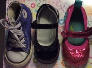 Three Pairs Toddler Girls Shoes Size 7 and 8 Converse, Chooze.