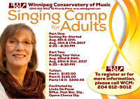 Wpg Conservatory of Music Singing Camp for Adults