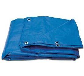 Reinforced Tarpaulins in green or blue. 5.4m x 3.5m in size. £8.00 each.