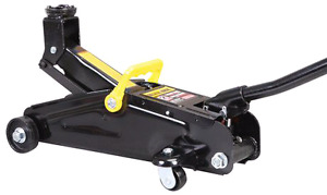 2-ton car jack and two 3-ton jack stands